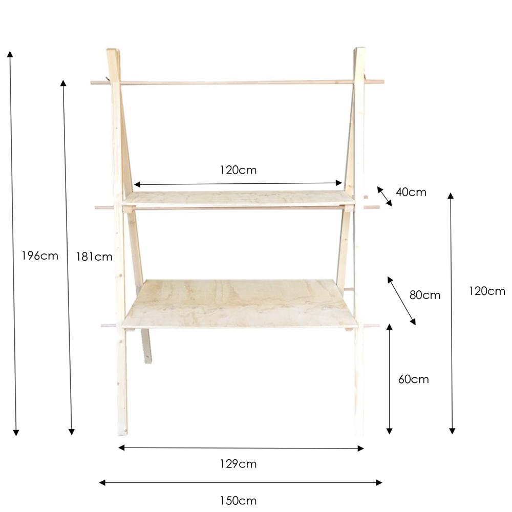 two tier a-frame dimensions