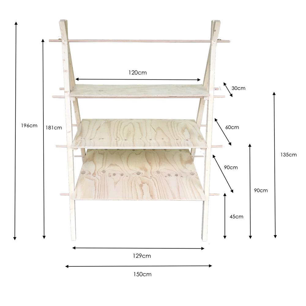 three tier aframe dimensions