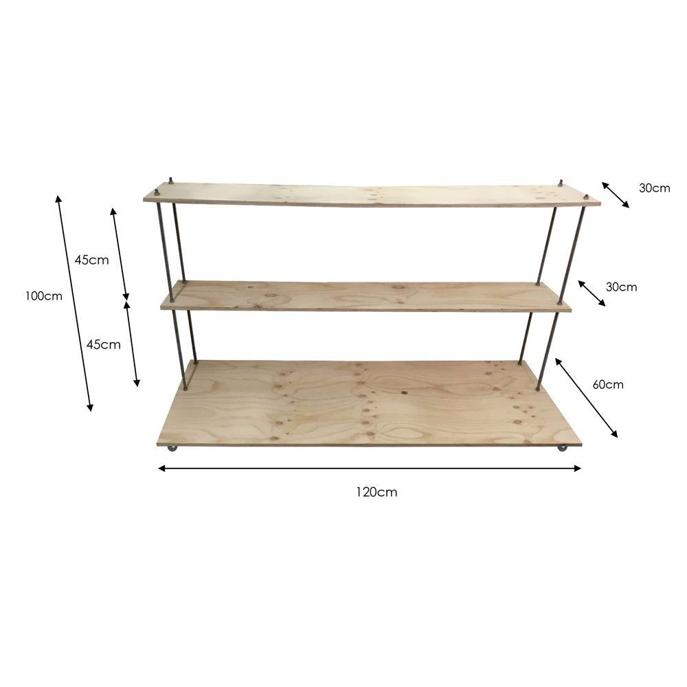 three tier floating stand dimensions