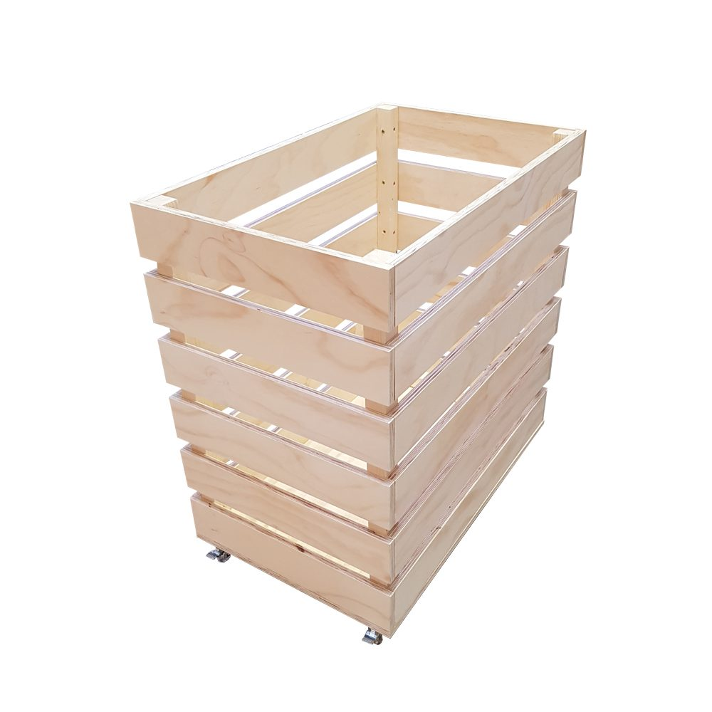 large plywood crate on castor wheels