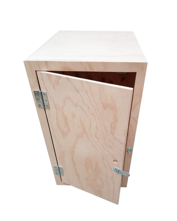 lockable plywood storage box front open