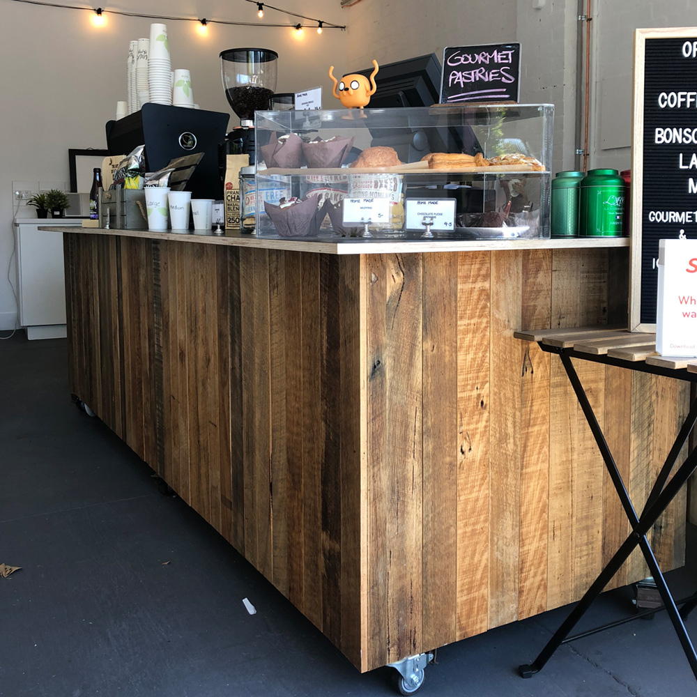 rolling recycled timber counter, market stall co